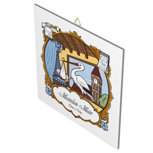 Geburtsfliese Junge, Motiv 1, blau